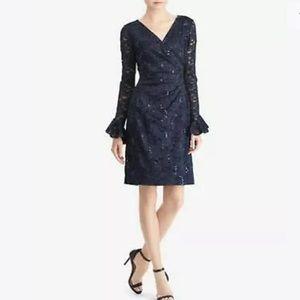 Ralph Lauren Sequin Lace Sheath Dress 0 Navy